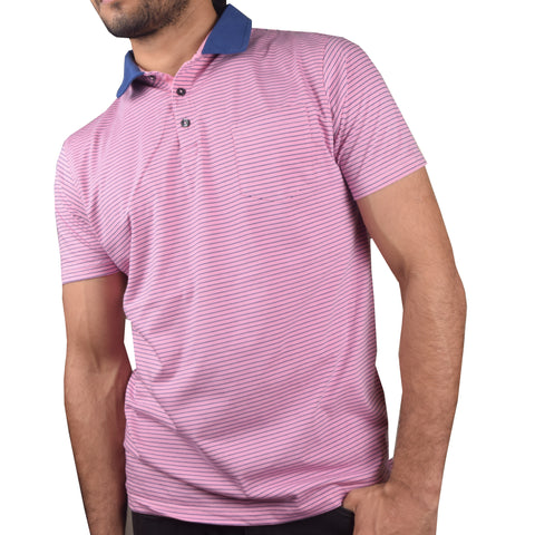 "Men's Cut Label ""NEXT""  Polo Shirt-Pink Blue Stripe-BA000117"