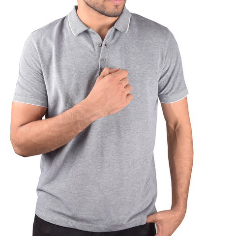 "Mens ""Next"" Cut Label PQ Polo Shirts-Gray Malange-BA000122"