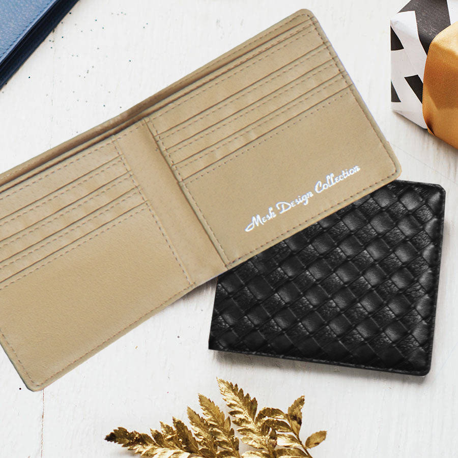 Mesh Design Collection Leather Wallet For Men-NA8033