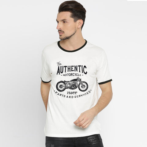 George Crew Neck T  Shirt For Men -White & Black  Ribb-BE2000