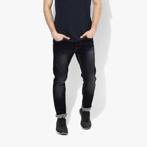 "Men's ""Zara Man"" Slim Fit Strech Denim Dark Blue Faded-ND45"