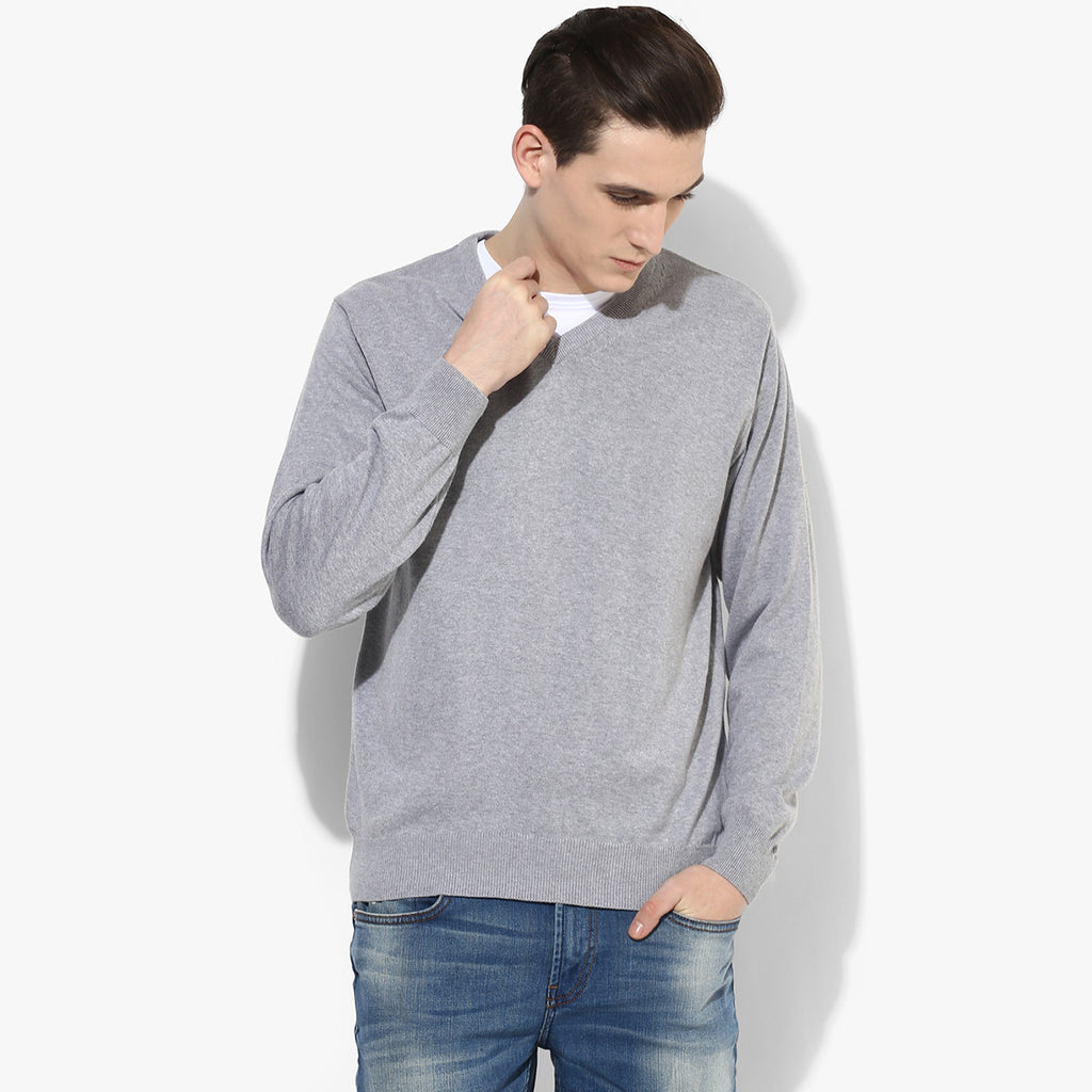 "Men's Cut Label ""Jack & Danny's"" Full Sleeve V Neck Sweat Shirt -Gray-JDSS05"