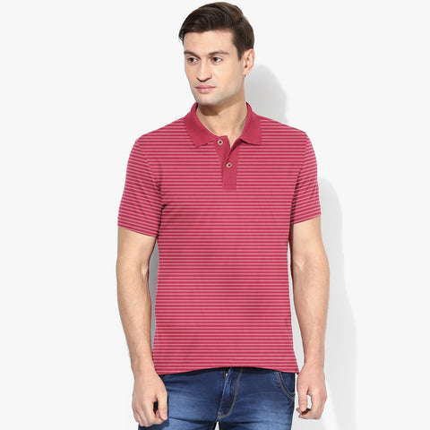 Men's Cut Label Fat Face Stylish Striper Polo Shirt -Carmine & White-NP07