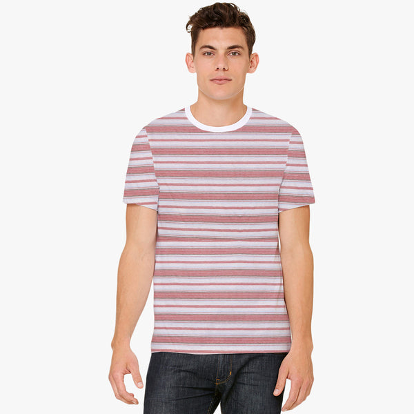 Men's North Coast Cut Label Crew Neck Striper Tee Shirt -FF33