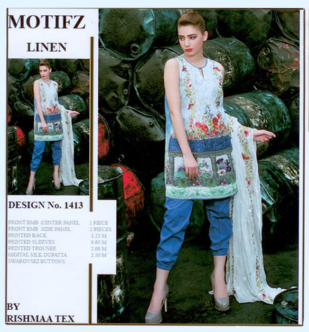 "Ladie's ""Motifiz"" 3 Piece Unstitched Suit-GLA21"