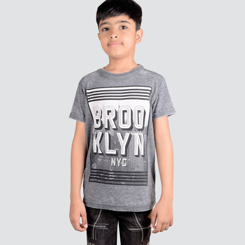 NEXT Burn Out Wash Single Jersey Crew Neck Printed T Shirt For Kids-NA944