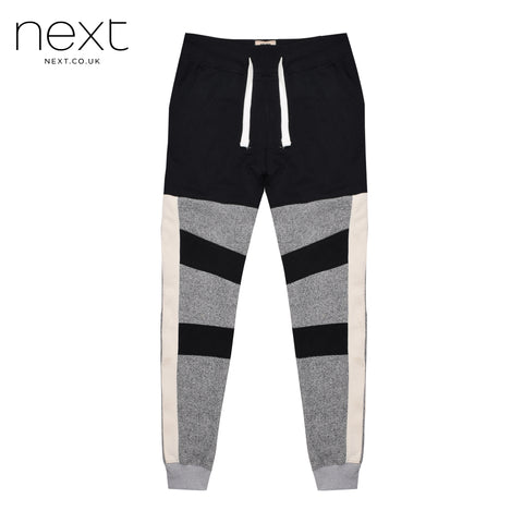 NEXT Fleece Jogger Trouser For Men Cut Label-Black & Grey Melange-BE4375