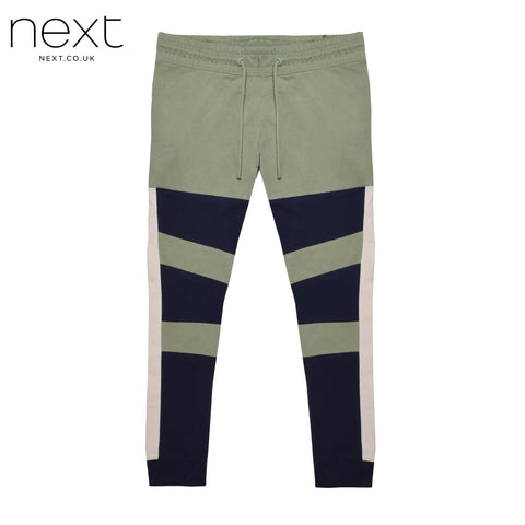 NEXT Fleece Jogger Trouser For Men Cut Label-Light Olive & Navy-BE4373