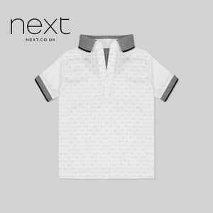 NEXT Half Sleeve Single Jersey Polo Shirt For Kids-White & All Over Printed-NA1240