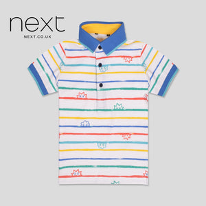 NEXT Half Sleeve Single Jersey Polo Shirt For Kids-White & Multi Striped-NA1241