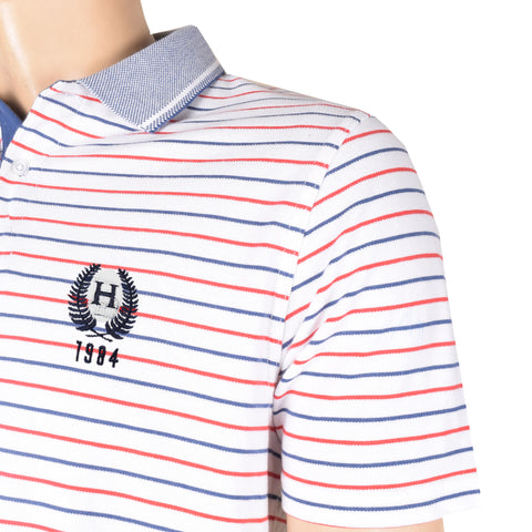 NEXT P.Q Polo Shirt For Men-White & Stripe-BE4494