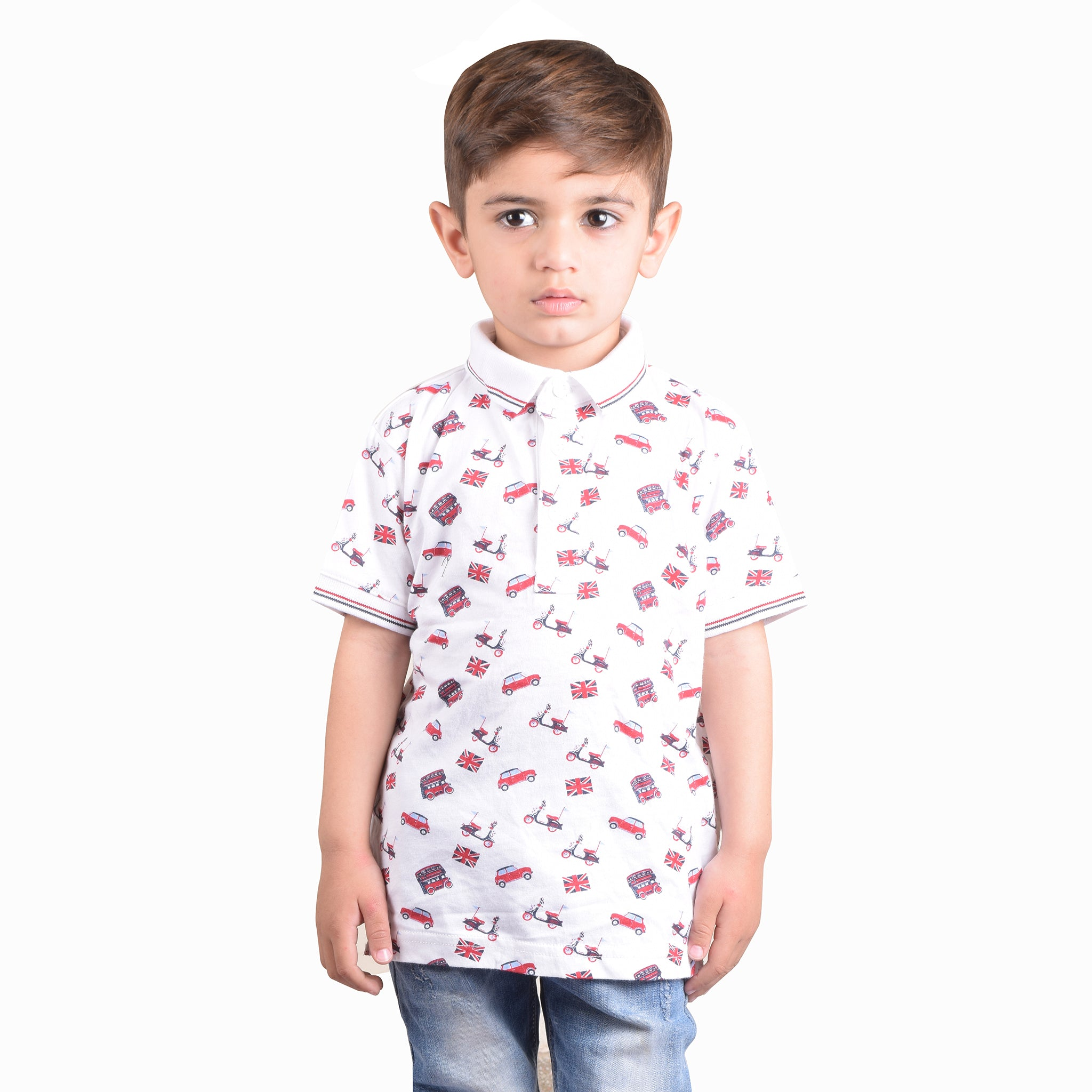 NEXT Polo Shirt For Kids-White with Allover Printing-BE4358