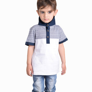 NEXT Polo Shirt For Kids-White with Printing Panel-BE4354
