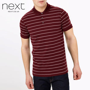 NEXT Single Jersey Polo Shirt For Men-Red white Gray Stripes-NA1018