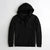 NEXT Terry Fleece Zipper Hoodie For Men-Jet Black-NA6346