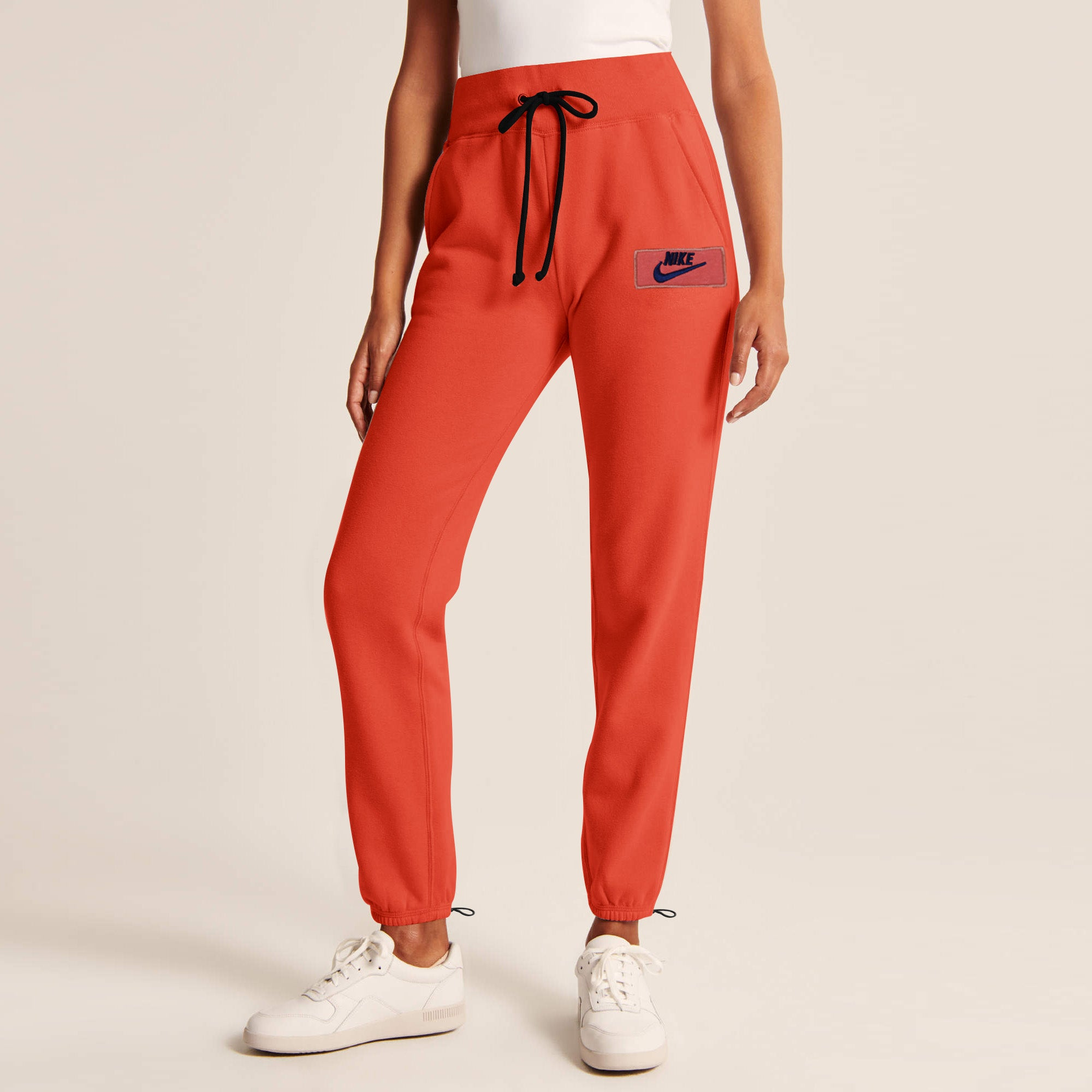 NK Terry Fleece Gathering Bottom Trouser For Ladies-Blaze Orange Navy Embroidery-AN1955