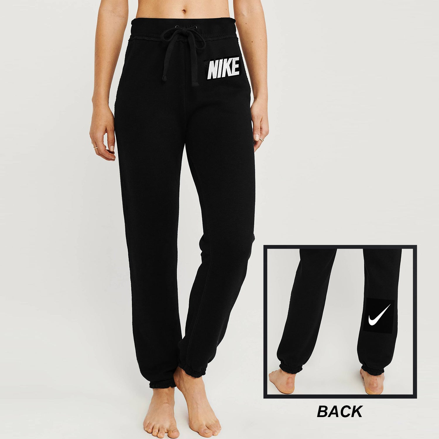 NK Fleece Slim Fit Trouser For Ladies-Black-BE10860