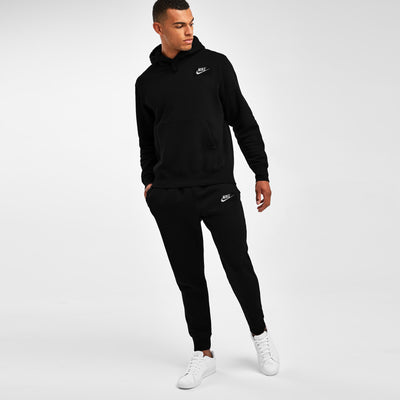 NK Slim Fit Pullover Fleece Track Suit For Men-Black & White Embroidery-NA10137