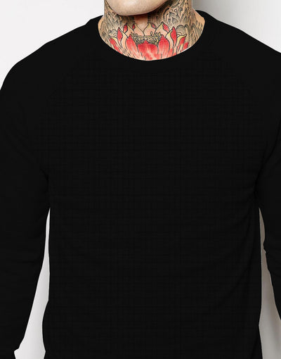 NYC Cut Label Crew Neck Quilted Fleece Raglan Sleeve Sweat Shirt For Men-Black-NA6641