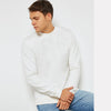 NYC Cut Label Crew Neck Quilted Fleece Raglan Sleeve Sweat Shirt For Men-White-NA6643