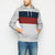 New Stylish Terry Fleece Pullover Hoodie For Men-Grey Melange With Dark Navy & Red Panels-SP1652