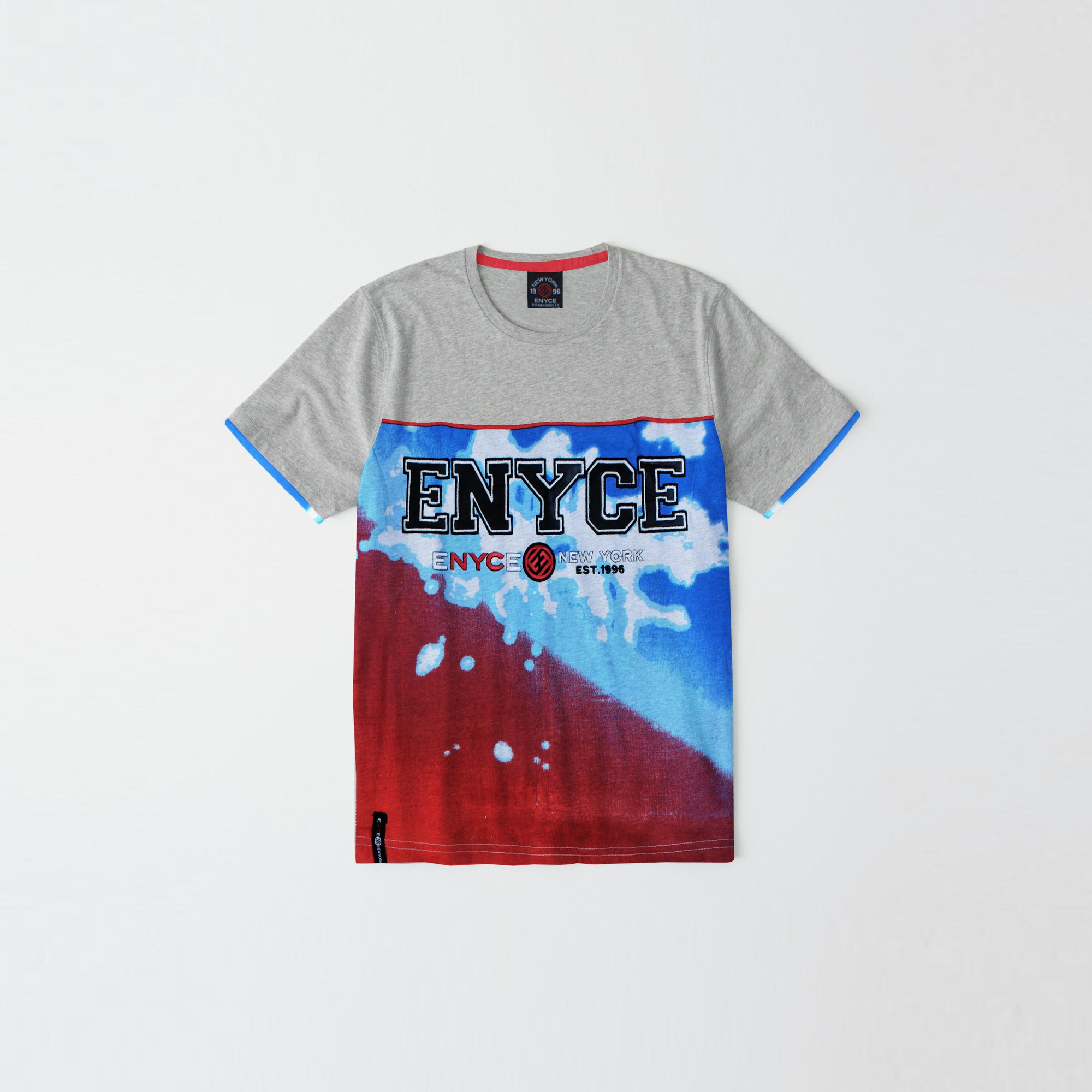 New York Enyce Crew Neck Single Jersey T Shirt For Kids-Grey & Blue Panel-NA8877