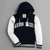 New York Popular Fleece Zipper Hoodie For Men-Dark Navy & White-NA9869