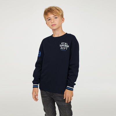 Next Crew Neck Fleece Sweatshirt For Kids-Dark Navy-NA6654