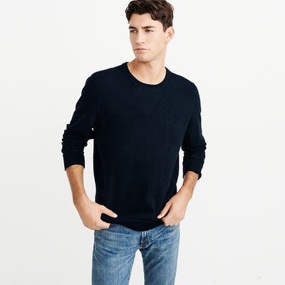 Next Crew Neck Fleece Sweatshirt For Men-Dark Navy-NA6519