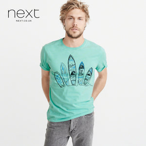 Next Crew Neck Half Sleeve Printed Logo T Shirt For Men-Sea Green-NA966