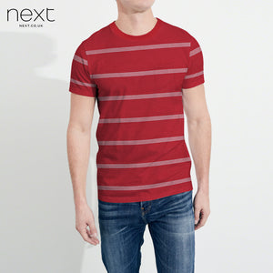 Next Crew Neck Half Sleeve T Shirt For Men-Red & Stripe-BE4430