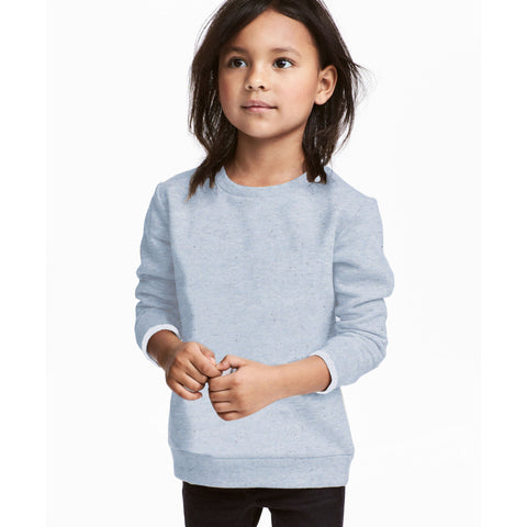 Next Fleece Crew Neck Sweat Shirt For Kids-Light Blue Melange Dotted-BE4094