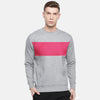 Next Fleece Crew Neck Sweatshirt For Men-Grey with Panels-NA10601
