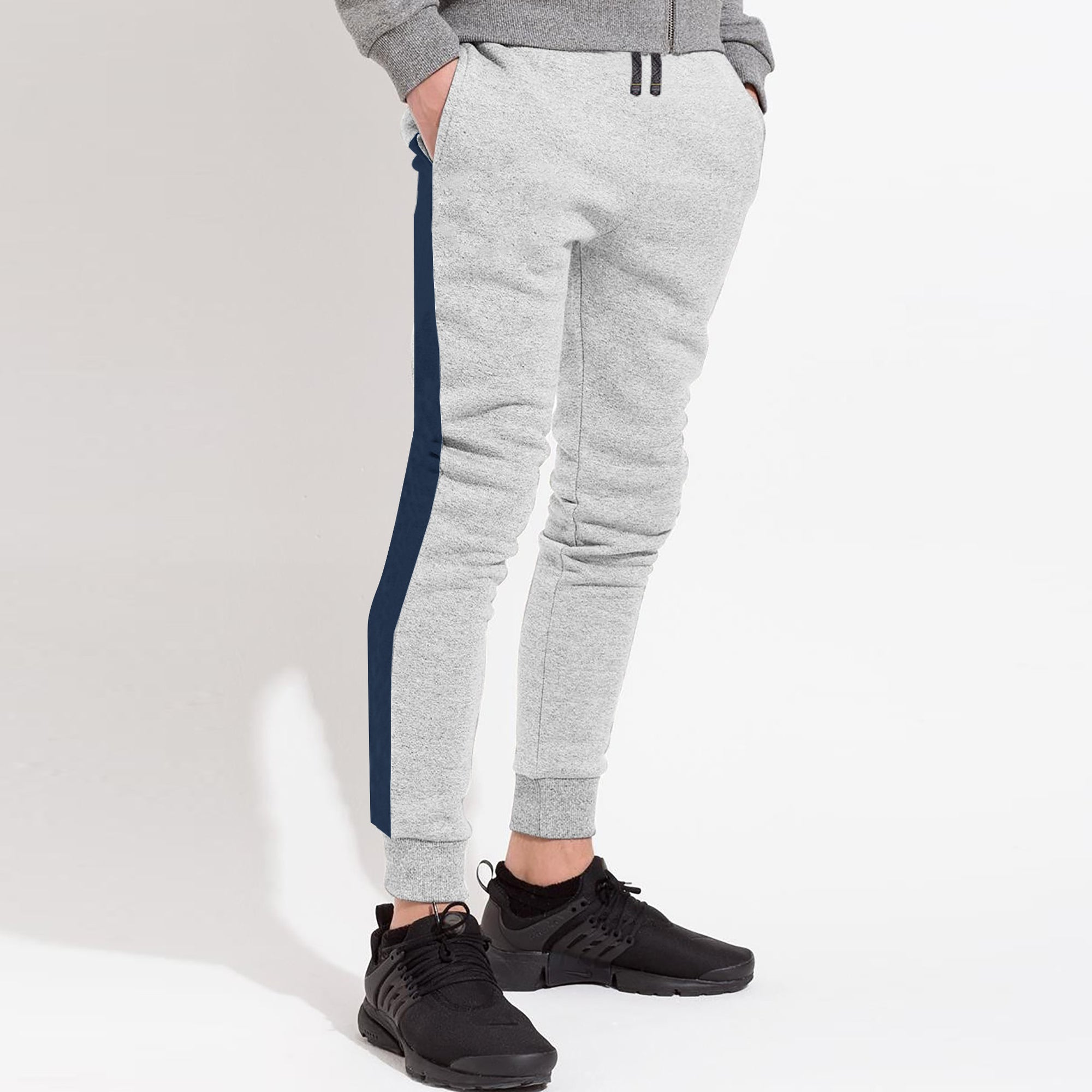 Next Slim Fit Jogger Trouser For Kids-Grey Melange with Navy Panels-SP2603