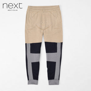 Next Fleece Jogger Trouser For Men Cut Label-Cream-Gray & Dark Navy -NA903