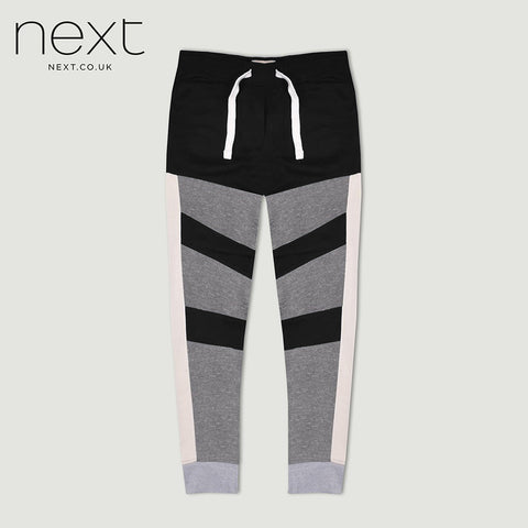 Next Fleece Jogger Trouser For Men Cut Label-Grey Melange & Black-BE4366