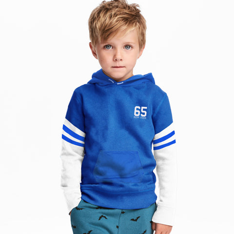 Next Fleece Pull Over Hoodie For Boys-Blue & White-BE4073