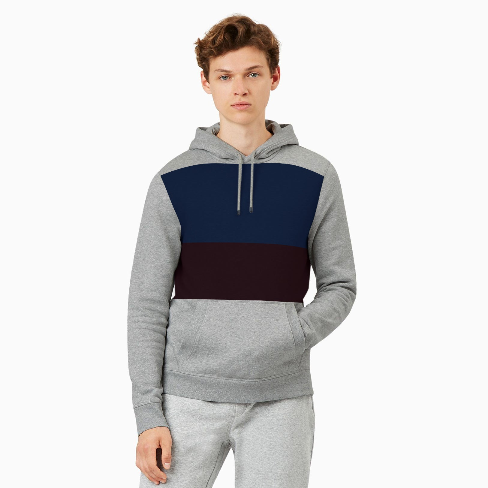 Next Fleece Pullover Hoodie For Men-Dark Grey With Blue & Burgundy Panel-NA10640