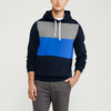 Next Fleece Pullover Hoodie For Men-Dark Navy with Sky Blue & Grey Melange Panel-NA10551