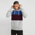 Next Fleece Raglan Sleeve Pullover Hoodie For Men-Dark Grey With Blue & Burgundy Panel-NA10641