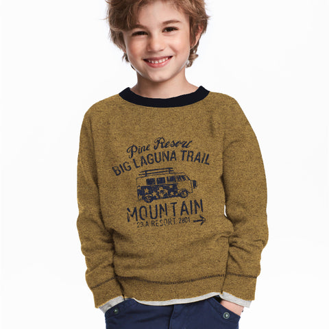 Next Fleece Sweatshirt For Kids-Camel Melange-BE4035