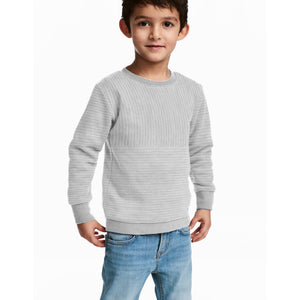 Next Fleece Sweatshirt For Kids-Grey Stripe-BE4001