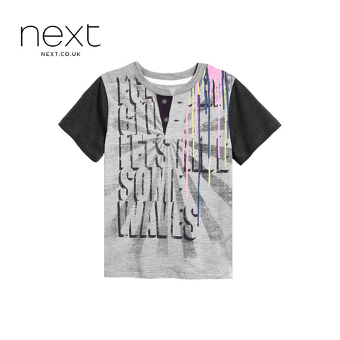 Next Half Sleeve Single Jersey  Henley T Shirt For Boys-Gray White Printing-NA5378