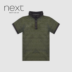 Next Half Sleeve Single Jersey Polo Shirt For Boys-Dark Green Melange-NA5391