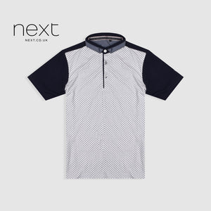 Next Half Sleeve Single Jersey Polo Shirt For Boys-White & Navy Dotted-NA5392