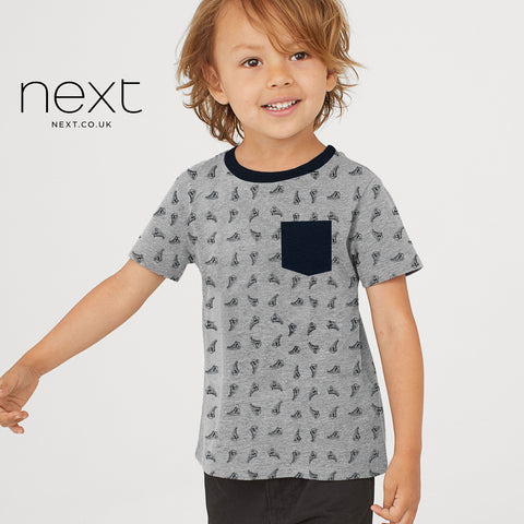 Next Half Sleeve Single Jersey T Shirt For Boys-Gray & All Over Printed-NA5375