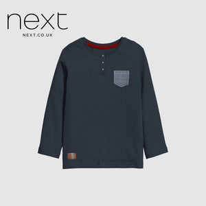 Next Half Sleeve Single Jersey Tee Shirt For Boys-Blue Melange With Pocket Style-NA5370