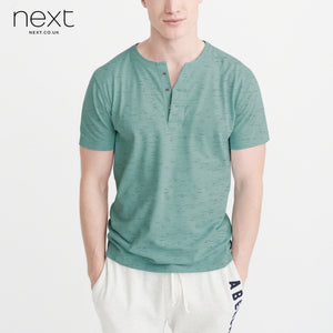 Next Henley Half Sleeve T Shirt For Men-Green with Melange-BE4472