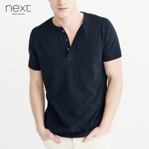 Next Henley Half Sleeve Shirt For Men-Dark Navy Melange-BE4520