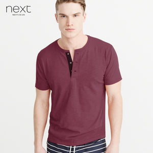 Next Henley Shirt For Men-Maroon Melange-BE4521